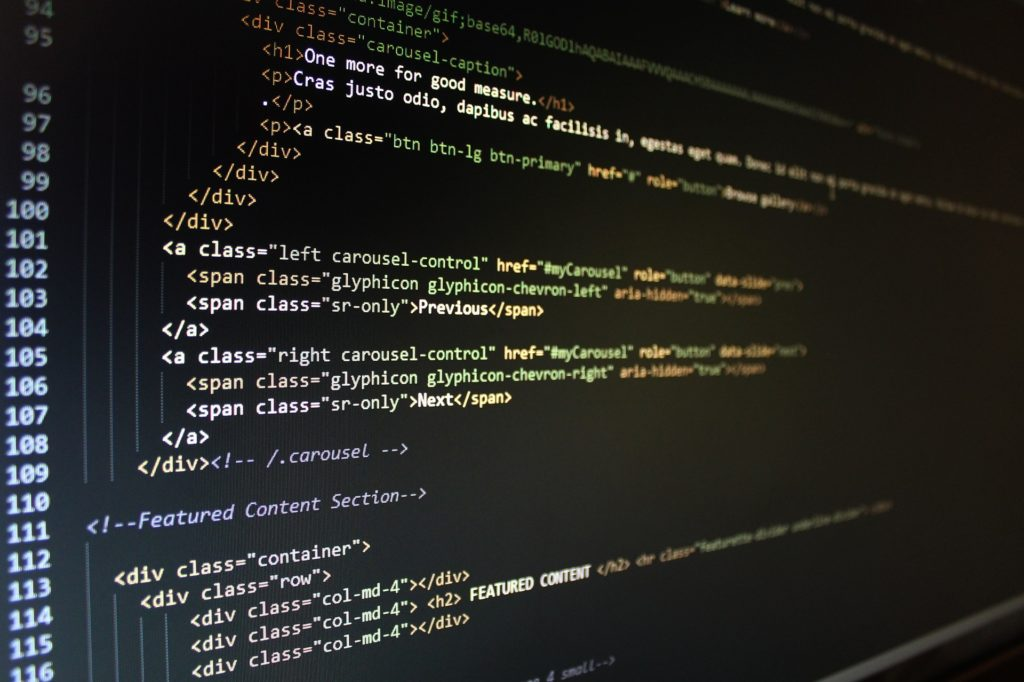 プログラミング言語が表示された画像